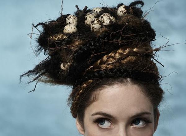 Прическа гнездо на голове фото
